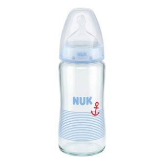 NUK First Choice Plus Glass Baby Bottle 240ml Blue
